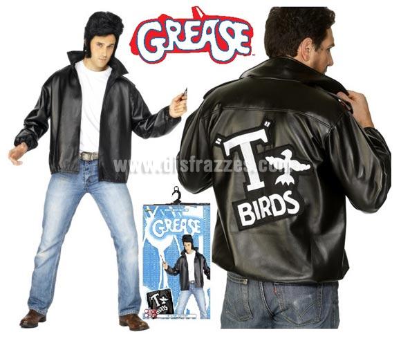 Chaqueta T-Birds de Grease con logo bordado hombre talla L 46/48. Disfrázate del auténtico Danny Zuko (John Travolta) en la mitica película GREASE. El precio incluye sólo la chaqueta. Podrás ver pelucas con tupé en la sección de Accesorios - Pelucas.