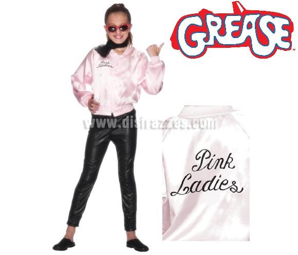 Chaqueta Pink Lady de Grease con logo bordado para niñas de 9 a 11 años.  Disfrázate de la auténtica Sandy Olson (Olivia Newton-John) en la mitica película GREASE. El precio incluye sólo la chaqueta. Podrás encontrar gafas en la sección de Complementos.