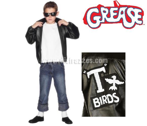 Chaqueta T-Birds de Grease con logo bordado para niños de 7 a 8 años. Disfrázate del auténtico Danny Zuko (John Travolta) en la mitica película GREASE. El precio incluye sólo la chaqueta. Podrás encontrar gafas en la sección de Complementos.