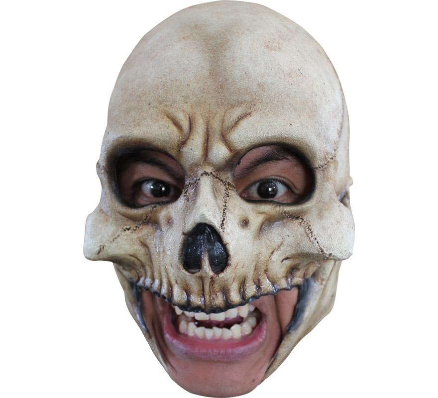 Máscara Chinless Skull de látex para Halloween. Alta calidad. Fabricada en látex artesanalmente por una empresa que hace efectos especiales para Hollywood. Máscara de Calavera sin mentón para dar terror en Halloween. Original y novedosa máscara con la que se puede beber y fumar sin ningún problema.