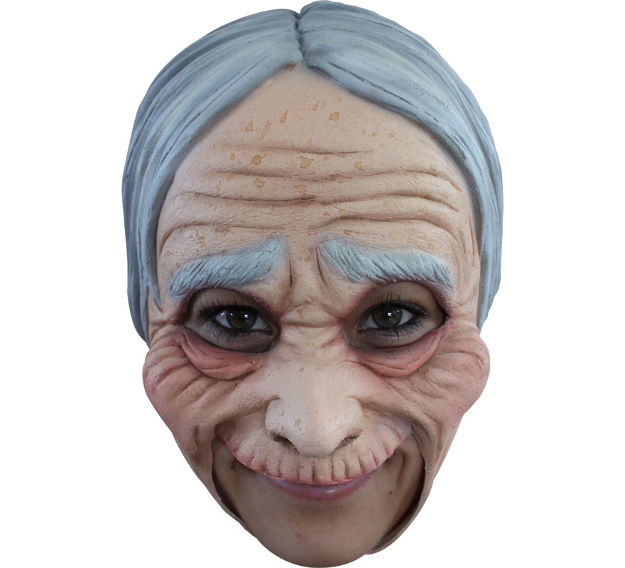Máscara Chinless Old Lady de látex para Halloween