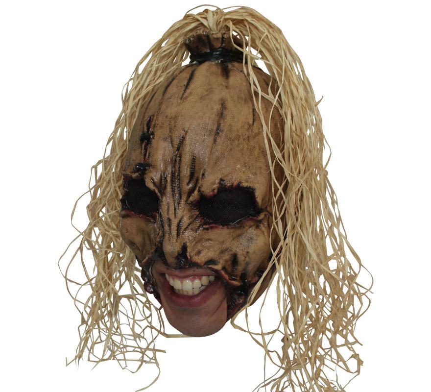 Máscara Espantapájaros Deluxe Scarecrow sin Barbilla Halloween. Alta calidad. Fabricada en látex artesanalmente por una empresa que hace efectos especiales para Hollywood. Careta que carece de Barbilla por lo que es muy cómoda llevarla puesta y podrás Beber o incluso Fumar sin tener que quitártela.