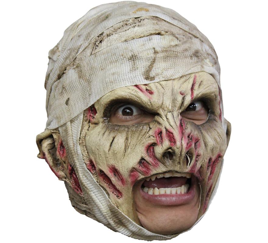 Máscara Mummy Deluxe de látex para Halloween. Alta calidad. Fabricada en látex artesanalmente por una empresa que hace efectos especiales para Hollywood. Máscara de La Momia de lujo para dar terror en Halloween.