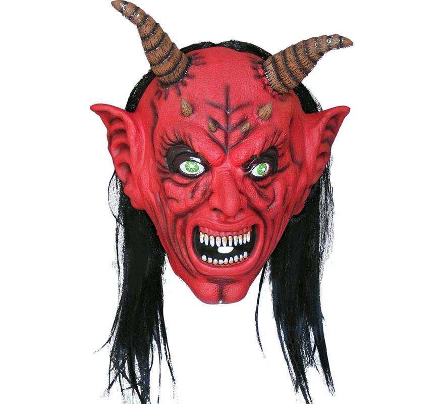 Máscara latex Demonio con pelo para Halloween.