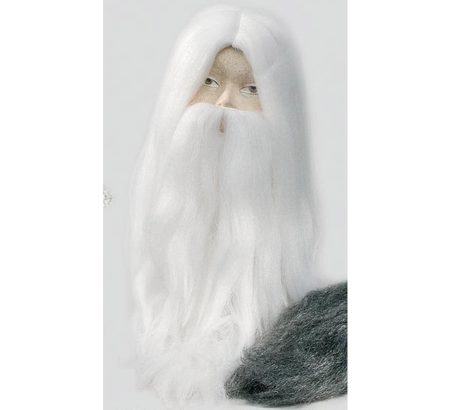 Set de peluca y barba, Mago blanca.