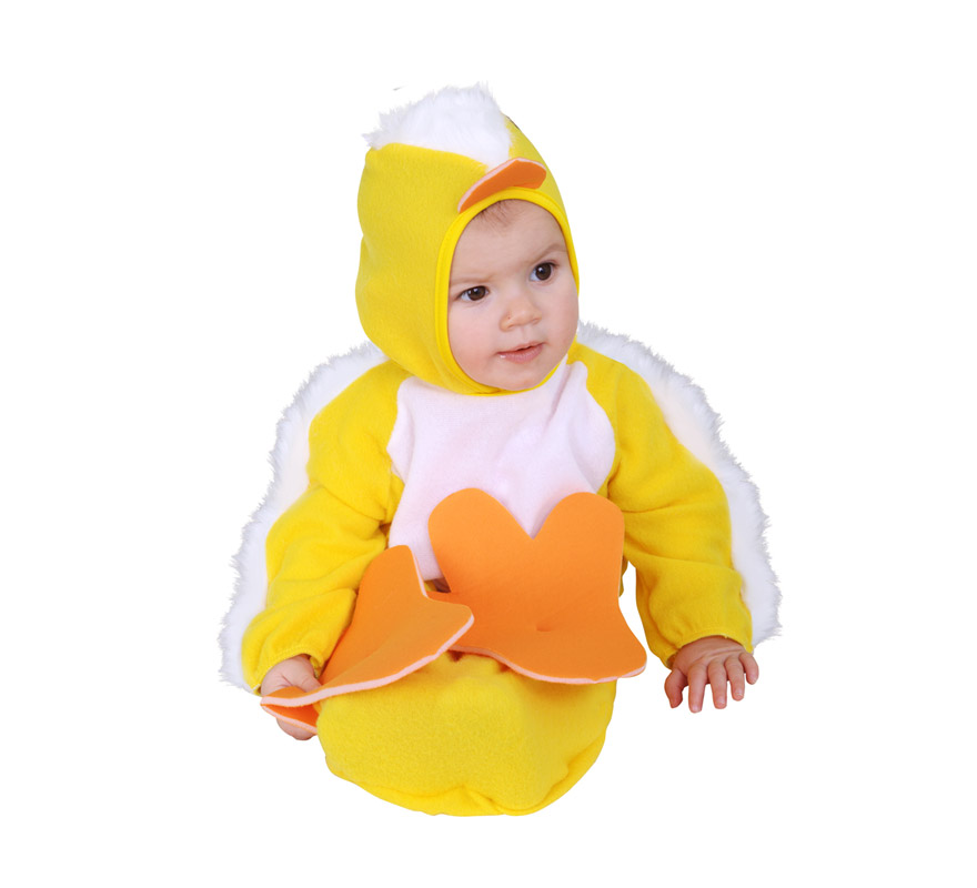 Disfraz de Pollito Baby para Carnaval. Talla de 0 a 6 meses. Incluye saquito y capucha.