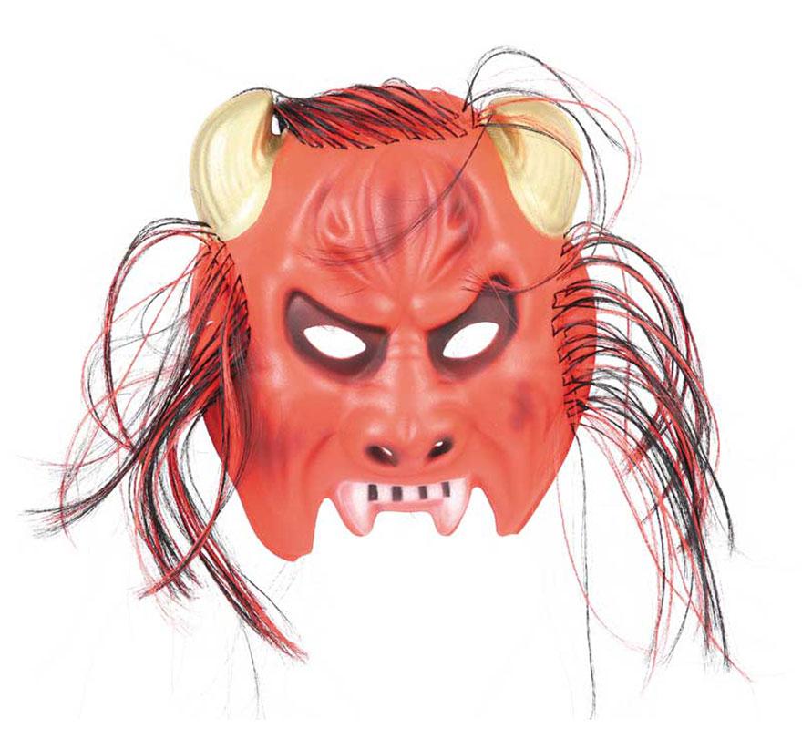 Careta Demonio EVA con pelo para Halloween.