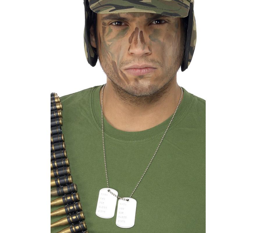 Cadena con placas de identificación Soldado de aluminio. Perfectas como Complemento de los disfraces de Soldado, Rambo, Militar, etc.