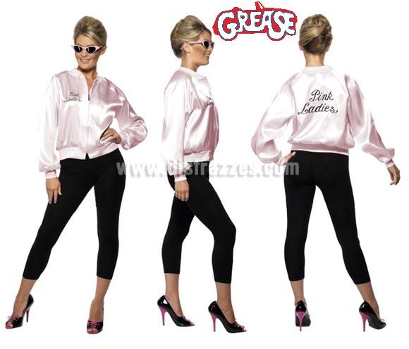 Chaqueta Pink Lady de Grease con logo bordado mujer talla M. Disfrázate de la auténtica Sandy Olson (Olivia Newton-John) en la mitica película GREASE. El precio incluye sólo la chaqueta. Podrás ver pelucas y gafas en la sección de Complementos.