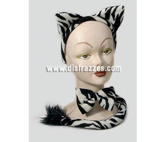 Complemento Cebra (3 piezas). Incluye diadema con orejas, lazo y cola. Perfecto para Despedidas de Soltera.