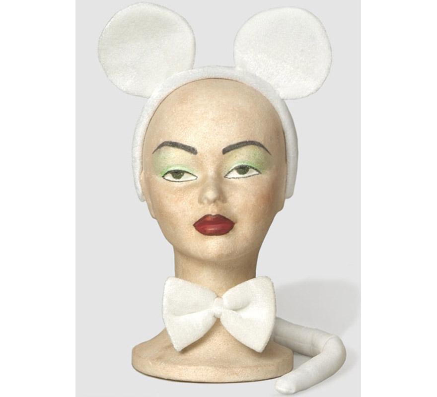 Complemento Ratón blanco (3 piezas). Incluye diadema con orejas, lazo y cola.