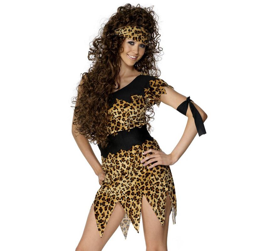 Disfraz de Troglodita o Cavernícola para mujer talla S 36/38. Incluye vestido estampado de leopardo, brazalete y cinta del pelo. Podrás ver pelucas en la sección de Complementos.