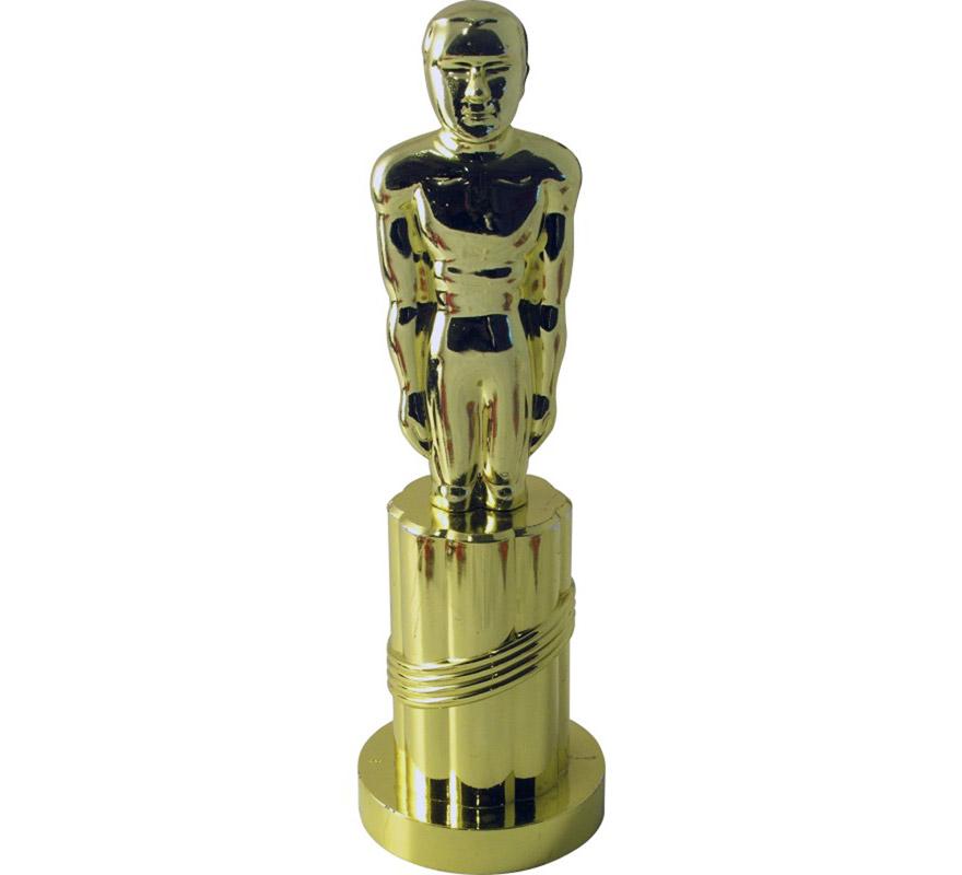Estatua en forma de Oscar dorado de plástico de 24 cm. Ideal como complemento para el disfraz de Marilyn y el de Estrella de Cine.