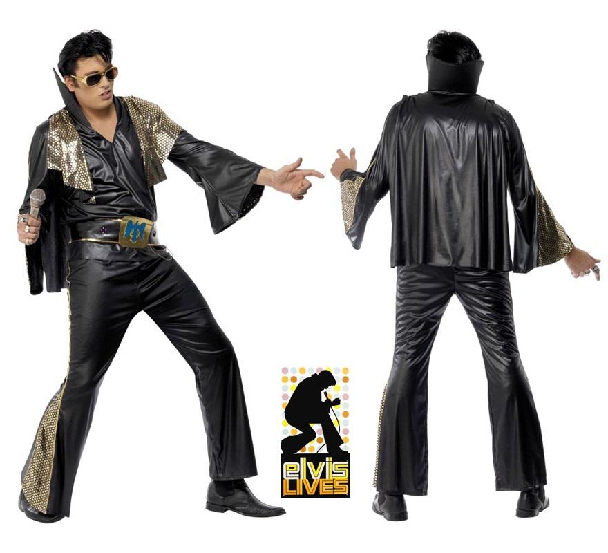 Disfraz de Elvis negro para hombre talla M. Incluye camisa, pantalón, capa y cinturón. Peluca, gafas y micrófono NO incluidos, podrás verlos en la sección de Complementos.