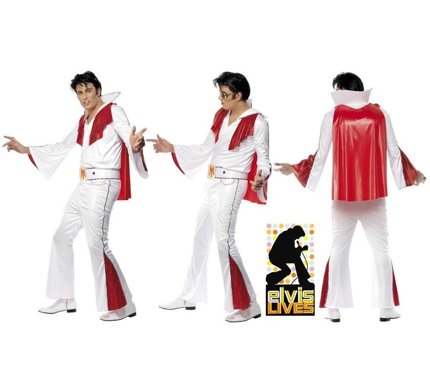 Disfraz Elvis auténtico con Capa para Hombre talla M 42/44. Único y de Alta Calidad. Disfraz del Rey del Rock Elvis Presley compuesto por Chaqueta de mangas acampanadas, Pantalones acampanados, Cinturón con águila, y Capa de color rojo.