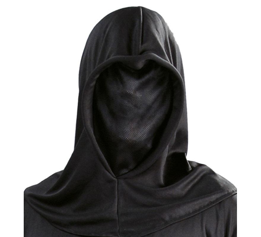 Capucha negra de tela para Halloween. Incluye sólo la capucha con máscara negra.