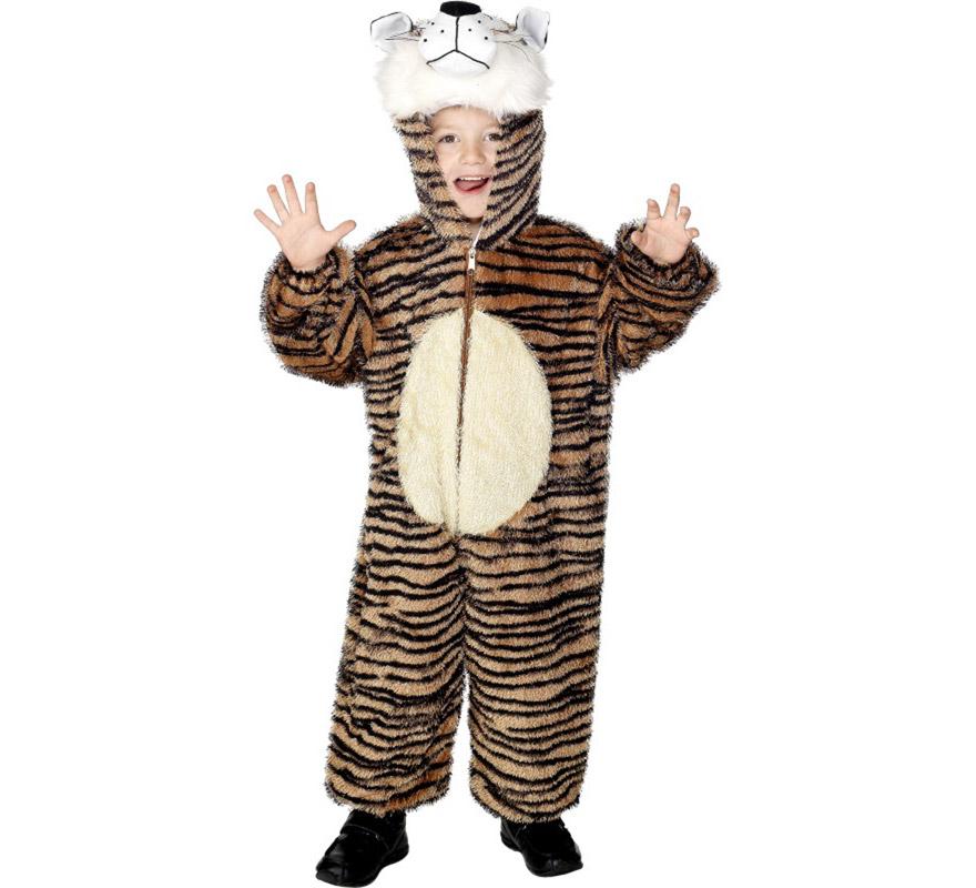Disfraz de Tigre de Bengala para Niños de 7 a 9 años. Disfraz Único y de Alta Calidad. Incluye mono con capucha.