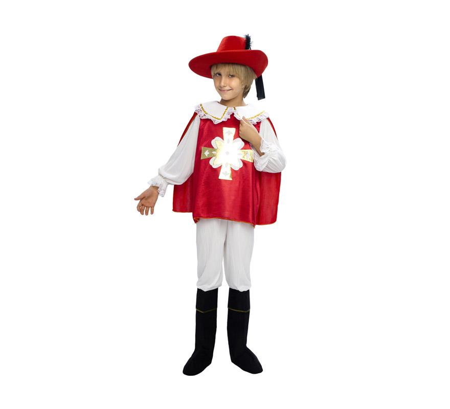 Disfraz de Mosquetero rojo para niños de 10 a 12 años. Incluye camisa con capa, pantalón y cubrebotas. Sombrero NO incluido, podrás verlo en la sección de Complementos.
