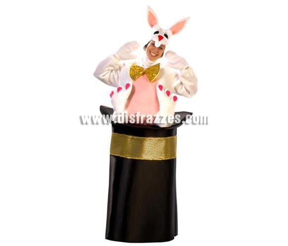 Disfraz de Conejo con Chistera de Mago adultos. Alta calidad. Hecho en España. Disponible en talla única de hombre (50) y de mujer (44). Incluye disfraz completo, tal y como se ve en la foto. 2 Colores Rosa y Azul.