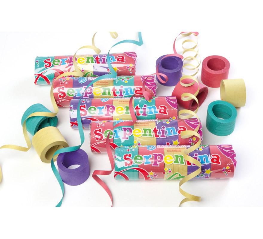 Paquete de 25 rollitos de Serpentina Plus de colores variados. Precio por paquete de 25 rollitos, en la imagen aparecen varios paquetes. Perfecta para cualquier tipo de Fiesta, Cabalgatas, Cotillón, etc. etc.