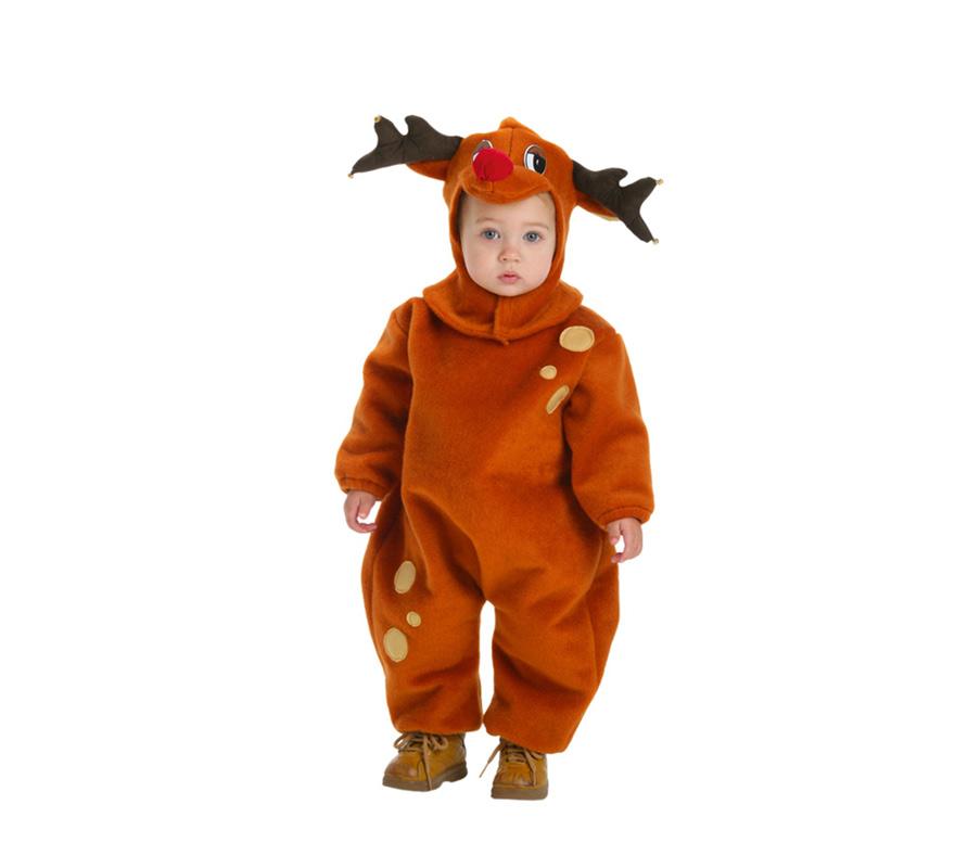 Disfraz de Reno infantil. Talla de 11 a 13 años. Incluye mono y capucha con forma de reno. Ideal para Navidad.