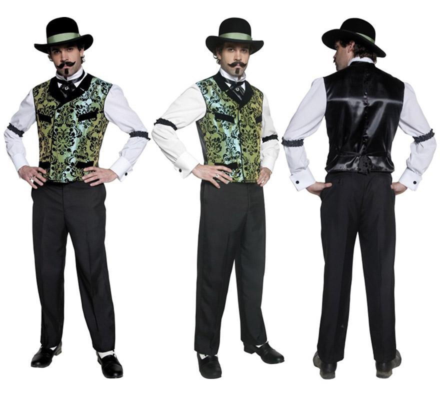 Disfraz de auténtico Jugador del Oeste para hombre talla M. Incluye camisa, cuello de camisa y liga de las mangas.