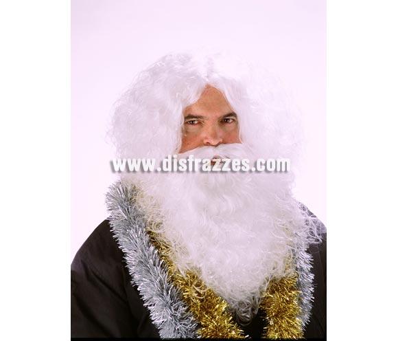 Peluca y Barba de Rey Mago o de Papa Noel de color blanco. Muy buena calidad. Fabricada en España. Talla universal. Es la de mejor calidad que tenemos y con el mejor precio. También sirve como peluca y barba de abuelo Vikingo.