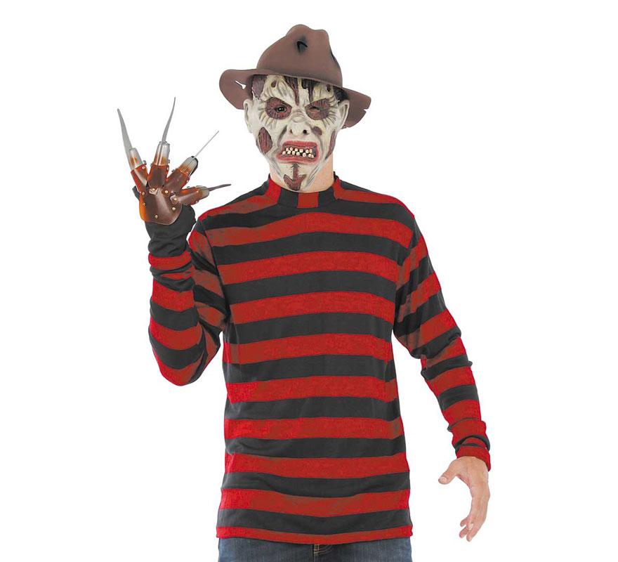 Camiseta a Rayas de Freddy Krueger para Halloween. Talla Universal adulto. El precio incluye sólo la camisa, el resto de accesorios los podrás ver en la sección de Complementos. Fabricado en España.