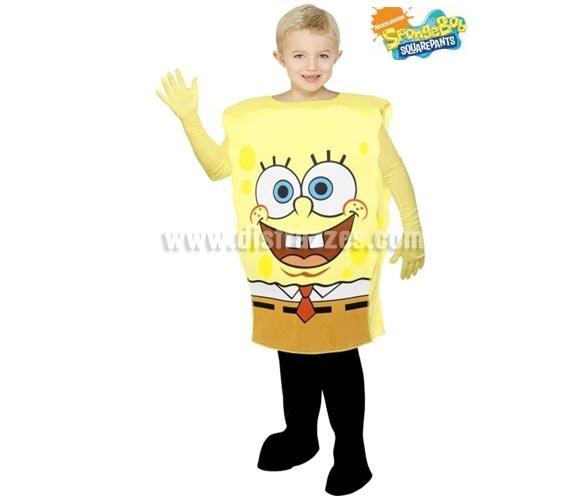 Disfraz de Bob Esponja para niños de 7 a 9 años. Incluye disfraz y guantes. Pantalones NO incluidos.