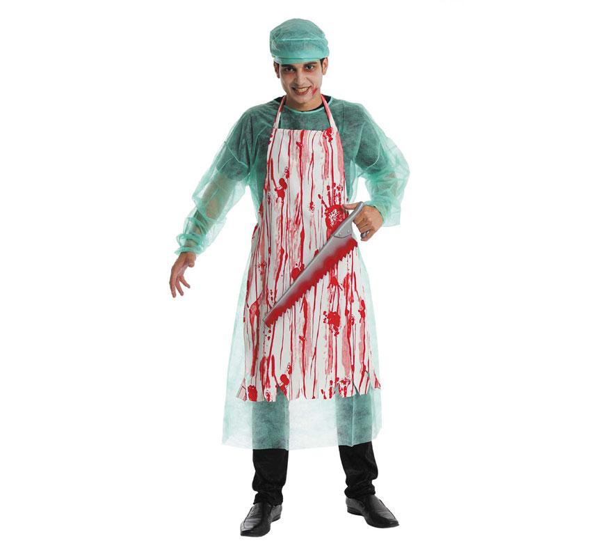 Disfraz de Cirujano Asesino para hombre. Talla Universal de hombre. Incluye bata, delantal impreso y gorro. Serrucho NO incluido, podrás verlo en la sección deComplementos.  Fabricado en España.