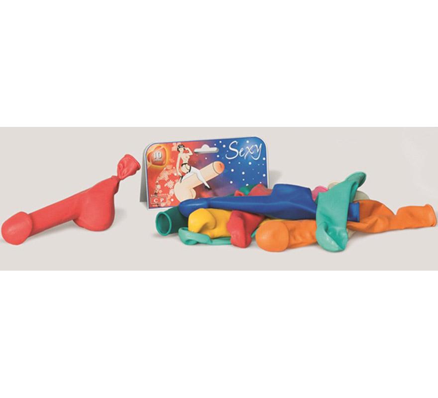 Bolsa de globos con forma de Pene (contiene 10 unidades). Perfectos para Despedidas de Solteros.