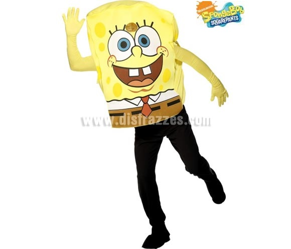 Disfraz de Bob Esponja para hombre. Talla Universal. Incluye disfraz y guantes. Pantalones NO incluidos.