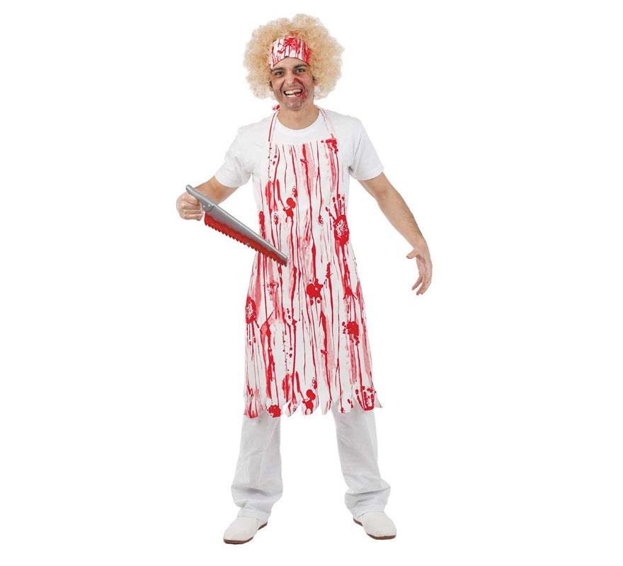 Delantal de Carnicero loco para Halloween. Talla Universal adultos. Incluye delantal impreso. Fabricado en España.