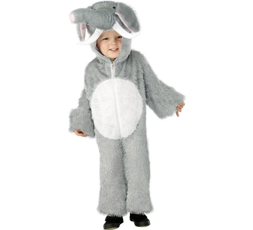Disfraz de Elefante para Niños de 4 a 6 años. Disfraz Único y de Alta Calidad. Incluye mono con capucha.