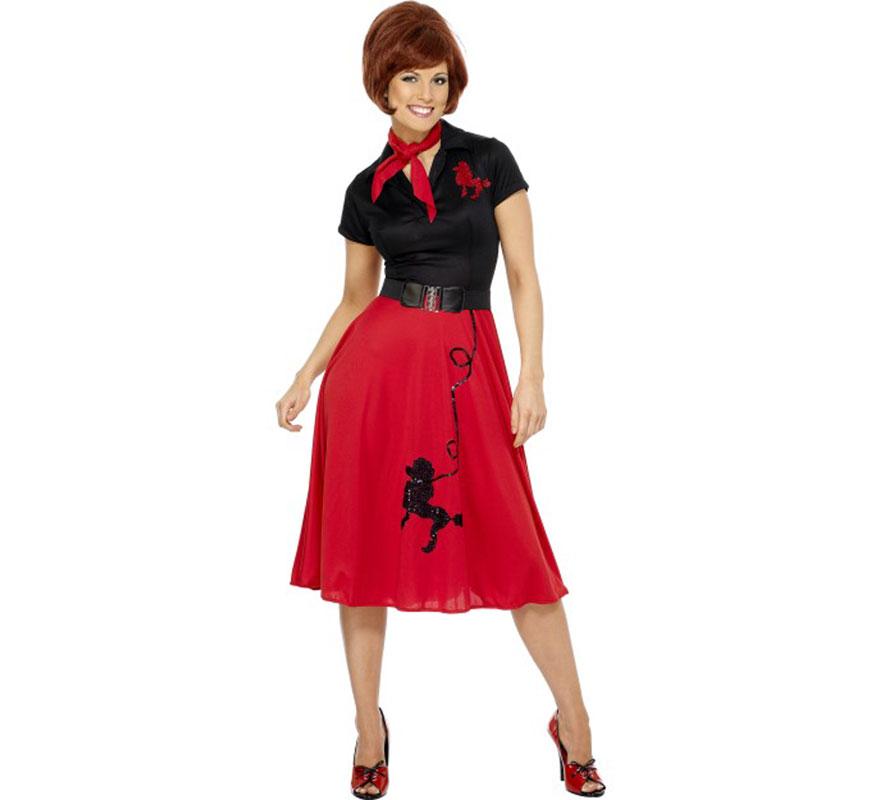 Disfraz de Chica de los Años 50 para mujer talla M 40/42. Vestido con Estampado de Caniche, ideal para imitar personajes de la película Grease. Incluye vestido, pañuelo del cuello y cinturón, no incluye peluca ni calzado. Completa tu disfraz con nuestros artículos de la sección de Accesorios.