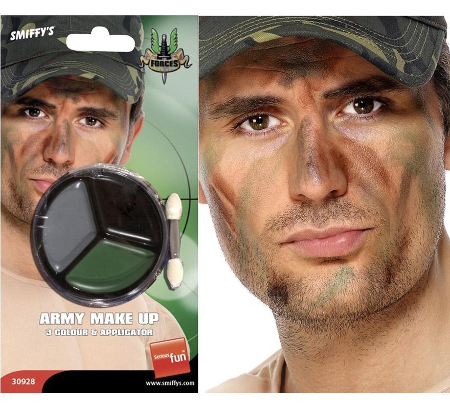 Maquillaje militar de camuflaje con aplicador. Perfecto para los disfraces de Militar, Camuflaje, Rambo, etc.
