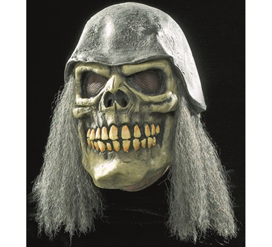 Máscara de Calavera con pelo y casco.