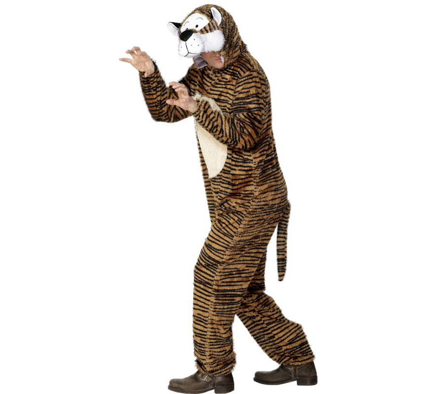 Disfraz de Tigre de Bengala para Hombre. Talla L de hombre. Disfraz Único y de Alta Calidad. Incluye mono con capucha. Arreglándolo un poco se puede ajustar a cualquier chica.
