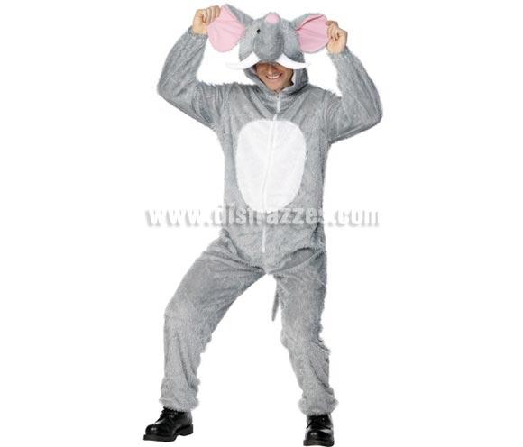 Disfraz de Elefante para hombre. Talla L. Disfraz Único y de Alta Calidad. Incluye mono con capucha.