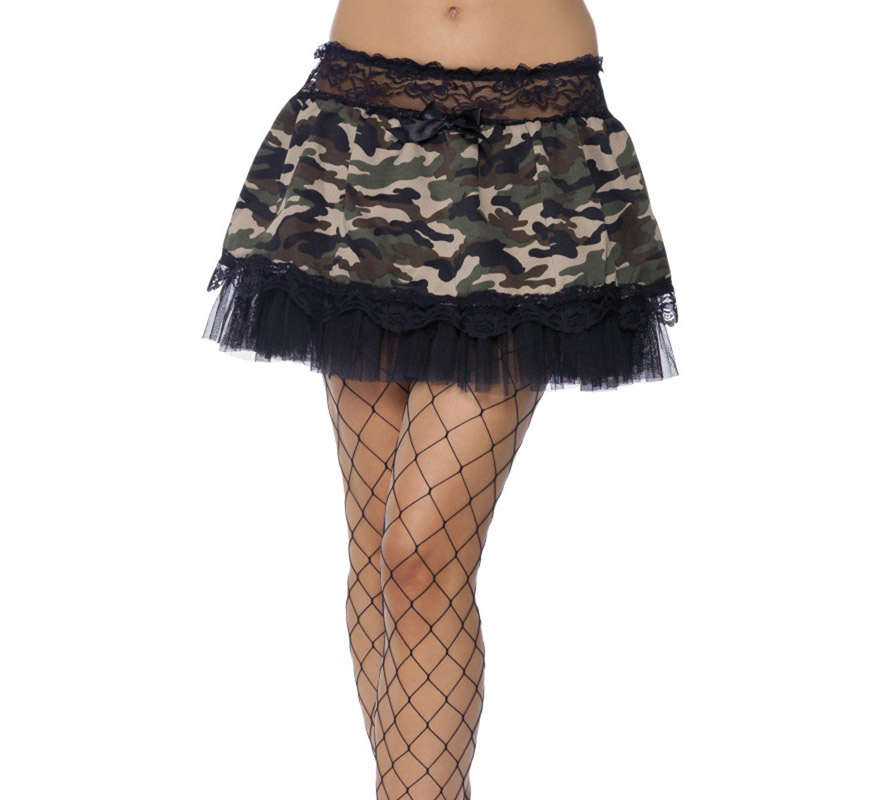 Enagua o Tutú negro y camuflaje,militar 4 capas 30 cm de largo.