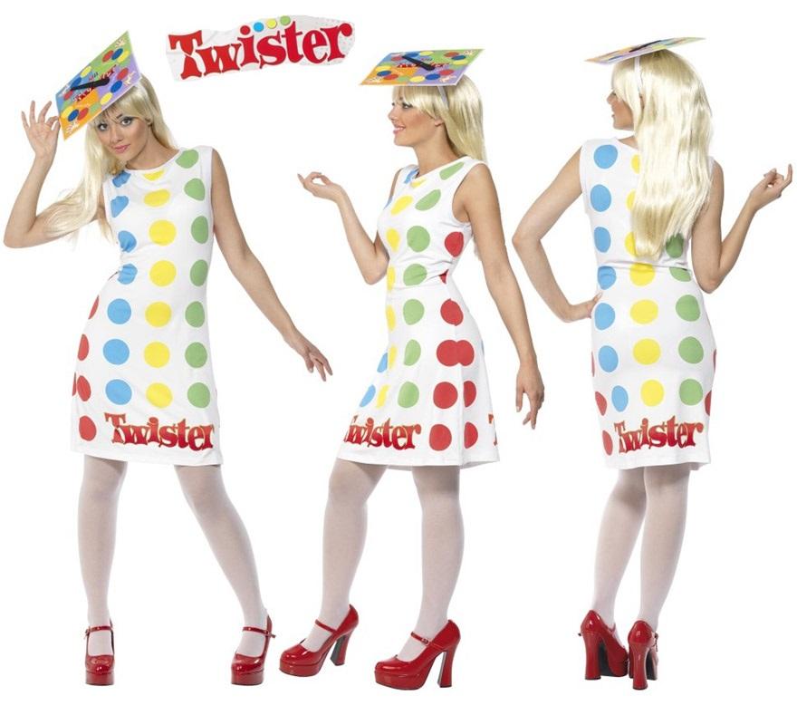 Disfraz de Twister para mujer talla M. Incluye vestido y sombrero. Exclusivo y original disfraz del famoso juego de mesa. Tendrás que ir con mucho cuidado para que no te pongan la mano encima, jejeje.