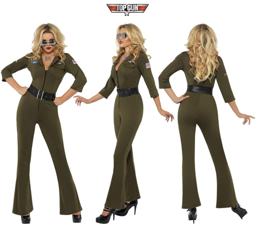 Disfraz de Aviadora sexy verde para mujer talla M de la mítica película TOP GUN. Incluye jumpsuit y cinturón. Gafas y zapatos NO incluidos. Las gafas las podrás ver en la sección de Complementos.