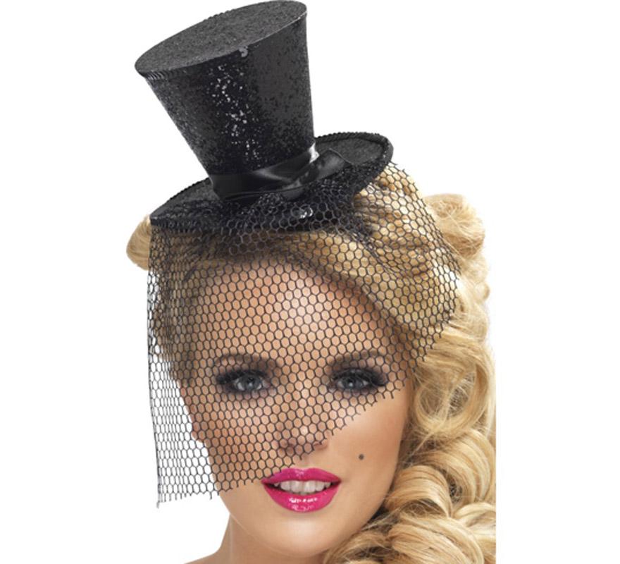 Mini Sombrero de Copa Burlesque Negro con Velo para Mujer. Tocado ideal como complemento de nuestros disfraces de Burlesque (espectáculo de variedades),  bailarina de cancán o de cabaret, etc...  Complemento Elegante y de Alta Calidad.