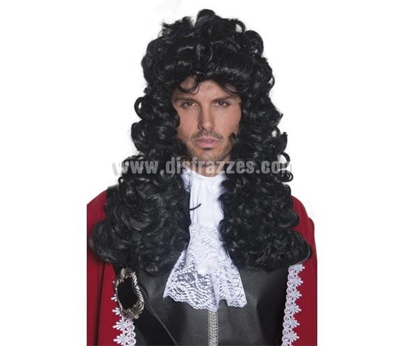 Peluca de Pirata o de Época larga negra rizada. Perfecta para disfrazarse del Capitán Garfio, el enemigo público de Peter Pan.