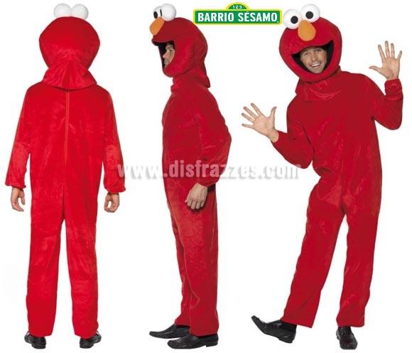 Disfraz de Elmo de Barrio Sésamo para adultos. Talla M de hombre. Incluye mono y cabeza.