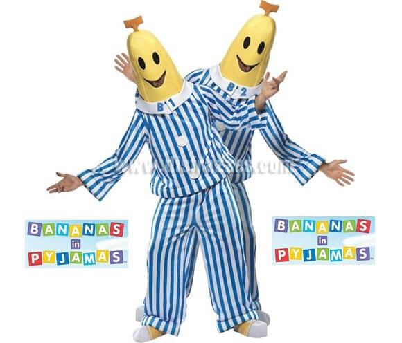 Disfraz de Bananas en Pijama (Bananas In Pyjamas) para hombre talla M. Incluye disfraz completo.