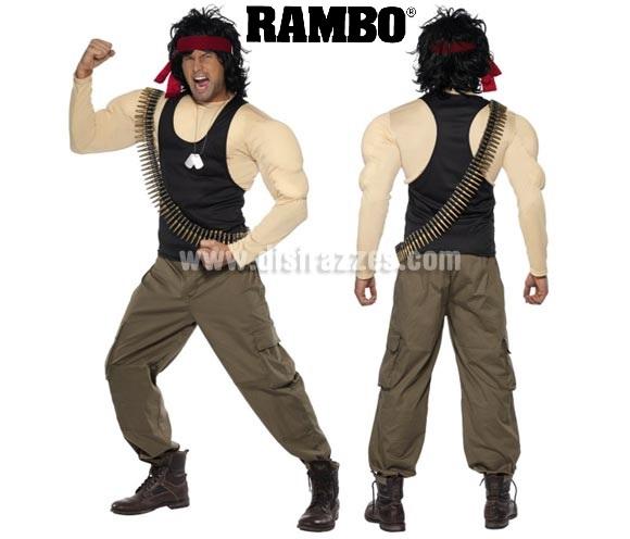 Disfraz de Rambo musculoso para hombre talla M. Incluye  disfraz completo con peluca, cadena de placas y cinta de balas.