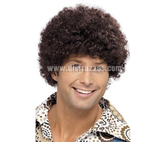 Peluca afro de la Disco marrón.