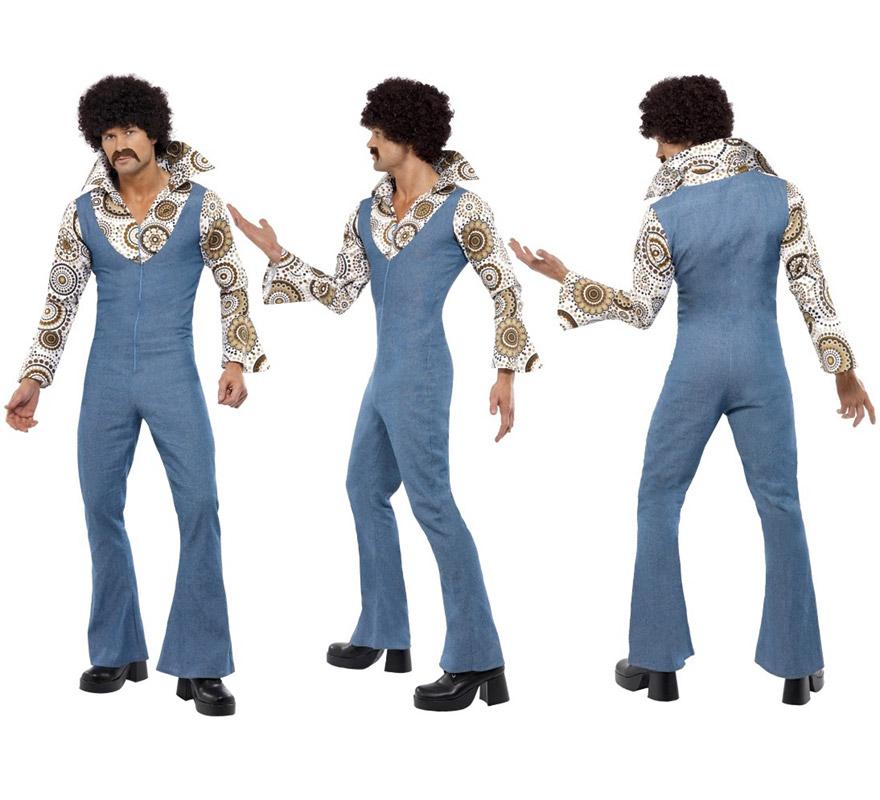 Disfraz de los Años 70 Groovy Dancer para hombre talla L. Incluye mono con camisa. La peluca y el bigote los podrás ver en la sección de Complementos. Alta calidad.