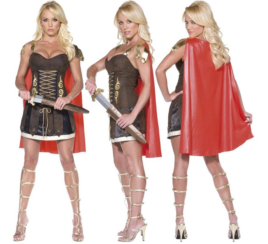 Disfraz de Gladiadora o Guerrera Romana para mujer talla S. Incluye vestido con capa. Espada NO incluida, podrás verla en la sección de Complementos. Disfraz muy Sexy para chicas.